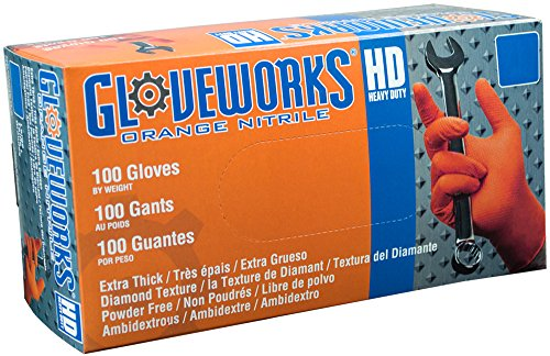 Ammex GWON Gloveworks Orange Nitrile Gloves