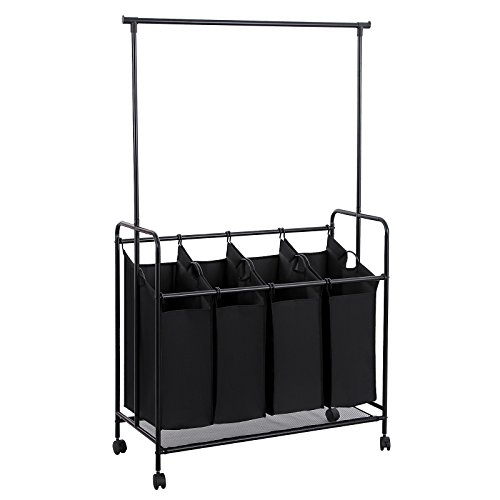Songmics 4-bag Rolling Laundry Sorter with Hanging Bar Heavy-duty Laundry Cart Hamper with 4 Wheels Larger Bags Black URLS44H