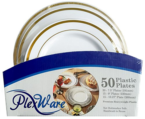 Plexware Golden Rim Plastic Plates 50 Piece Set (20-7.5 Inch, 15 - 9 Inch, 15 - 10.27 Inch) White