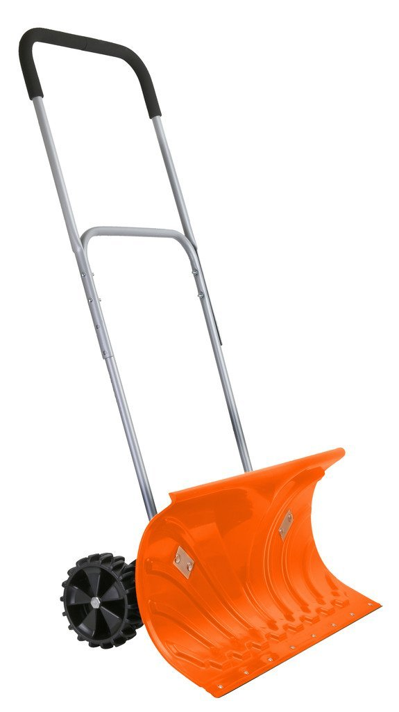 angled snow pusher shovel with wheels
