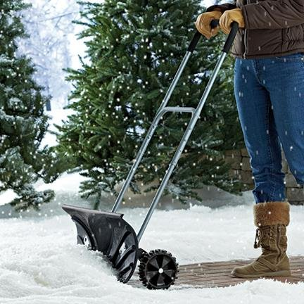snow pusher shovel with wheels