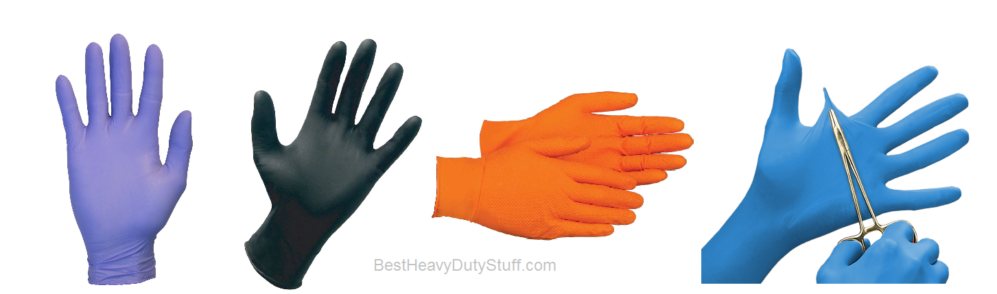 Black Orange Purple Blue top rated heavy duty nitrile gloves reviews