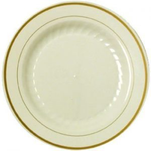 Masterpiece Plastic 6-inch Plates, Ivory w/Gold Rim 15 Per Pack