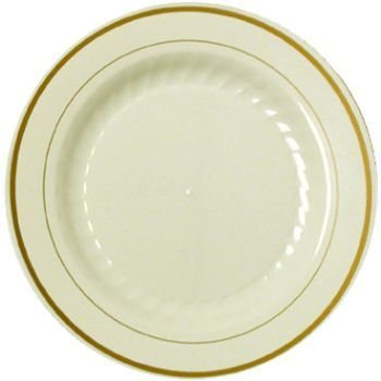 Masterpiece Plastic 6-inch Plates, Ivory w/Gold Rim 15 Per Pack