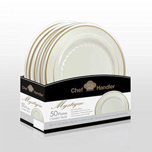 Mystique Premium Quality Heavyweight Plastic Plates Combo Basket Pack Beige/Gold (50, Beige/Gold)