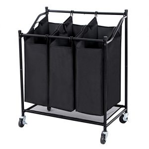 Songmics 3-Bag Rolling Laundry Sorter Heavy-duty Storage Hampers Black URLS76H