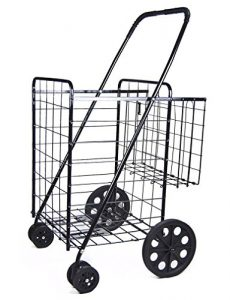 DLUX Folding Shopping Cart Rolling Swivel Wheels Large Storage Basket Fold Flat