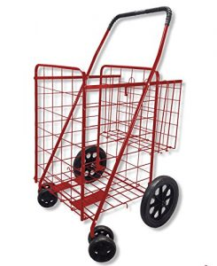Wellmax Folding Shopping Cart with Double Basket and Swivel Wheels Red
