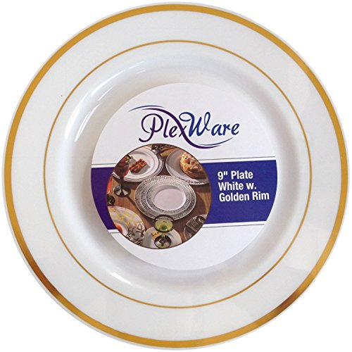 Plexware White Plastic Plates With Golden Rim 9 Inch-Total 120 Plates