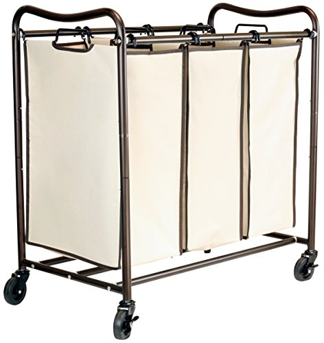 Heavy Duty 3 Large Bag Laundry Sorter Cart with Hanging Bar Hamper Storage