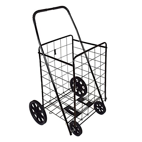 DLUX Shopping Folding Cart Strong Frame Solid Rubber Tires Great